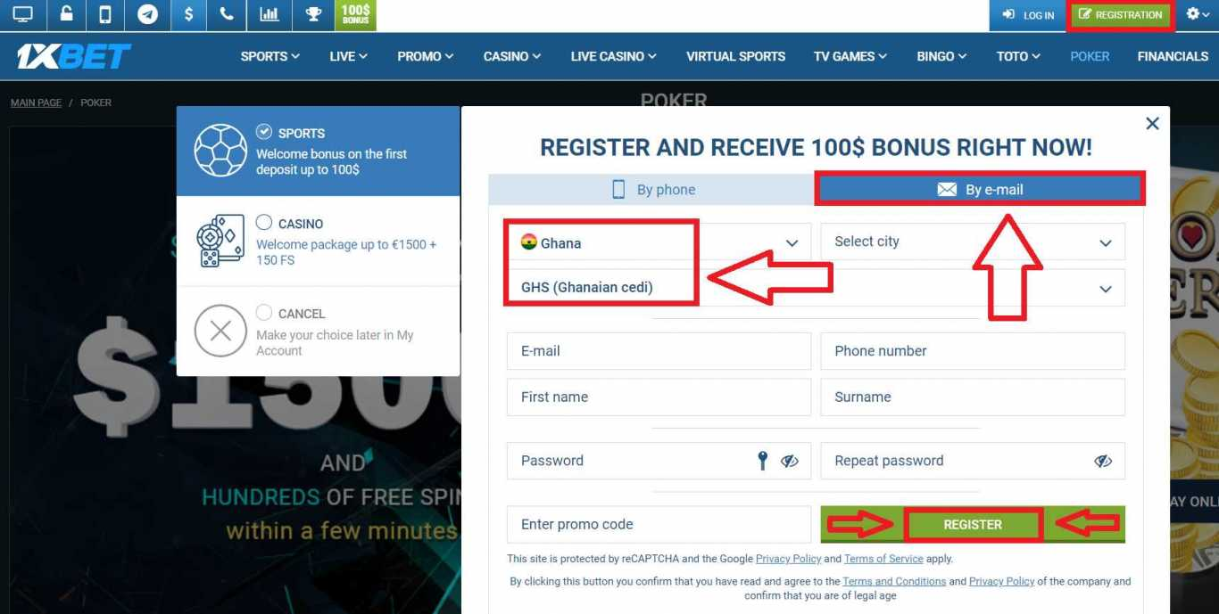 1xBet sign up e-mail